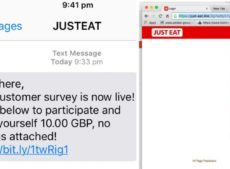 Just Eat hacking attempts – Dodgy spam texts offering £10 for survey!